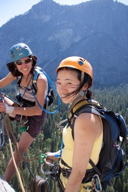 Chris and Lisa high above the Yosemite valley floor in 2009. A guy couldn't ask for two better partners