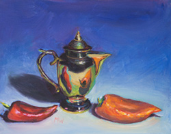I found a brass tea serving set at a flea market, the peppers were from Safeway. 9 x 12 oil on board