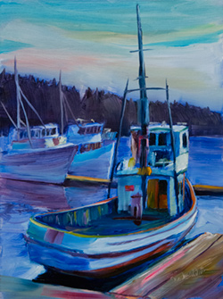 Gig Harbor has an active fishing fleet. There is a quiet dock with a great view for painting. 9 x 12 oil on board