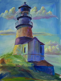 There is something timeless about lighthouses.                       I find them to be a peaceful place to work.  9 x 12 oil on board