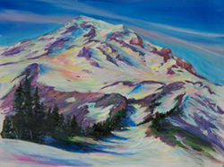I painted Mt. Rainier at the end of a 5 mile hike up the Van Trump trail. 12 x 16 oil on board