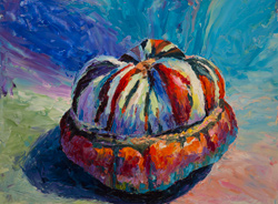 Turban squash with palette knife, 2016, 12 x 16 oil on board