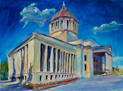 Painting of Capital buiding, Olympia, Washington. I painted this during legislative season. There were a lot of people walking around in fancy suits. I thought I'd get kicked out, but the State Patrolman was one of my nicest visitors. 12 x 16 oil on board
