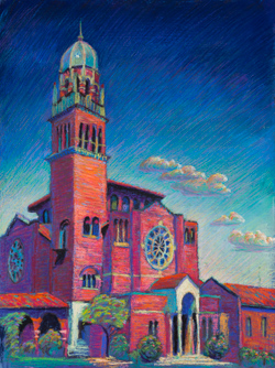 This church is in old town Tacoma by Wright's Park. I made friends with some homeless people while I painted. 15 x 20 pastel