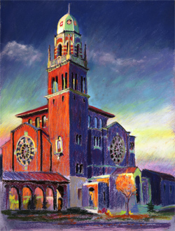 First Presbyterian Church, Tacoma. This church is in old town Tacoma by Wright's Park. There is a quiet little park in the traffic island to paint. 15 x 20 pastel SOLD