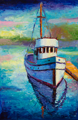 The Commencement is a 91 year old fishing boat - purse seiner built in Gig Harbor. It is often moored by the Tacoma Glass Museum. I painted it on a sunny Friday while the engine was warming up. 12 x 18 oil on board