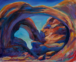 Double Arch, Arches National Park near Moab, Utah. 16 x 20 oil on board