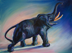 This bronze elephant came down through the family to my sister. She lent it to me for a painting. 12 x 16 oil on board