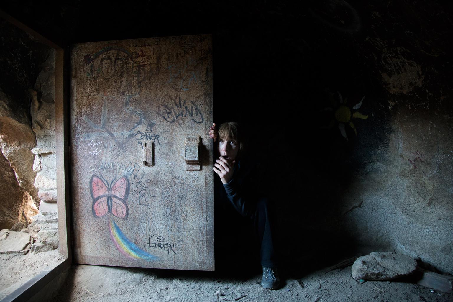 Sue in the Iron Door cave, Joshua Tree