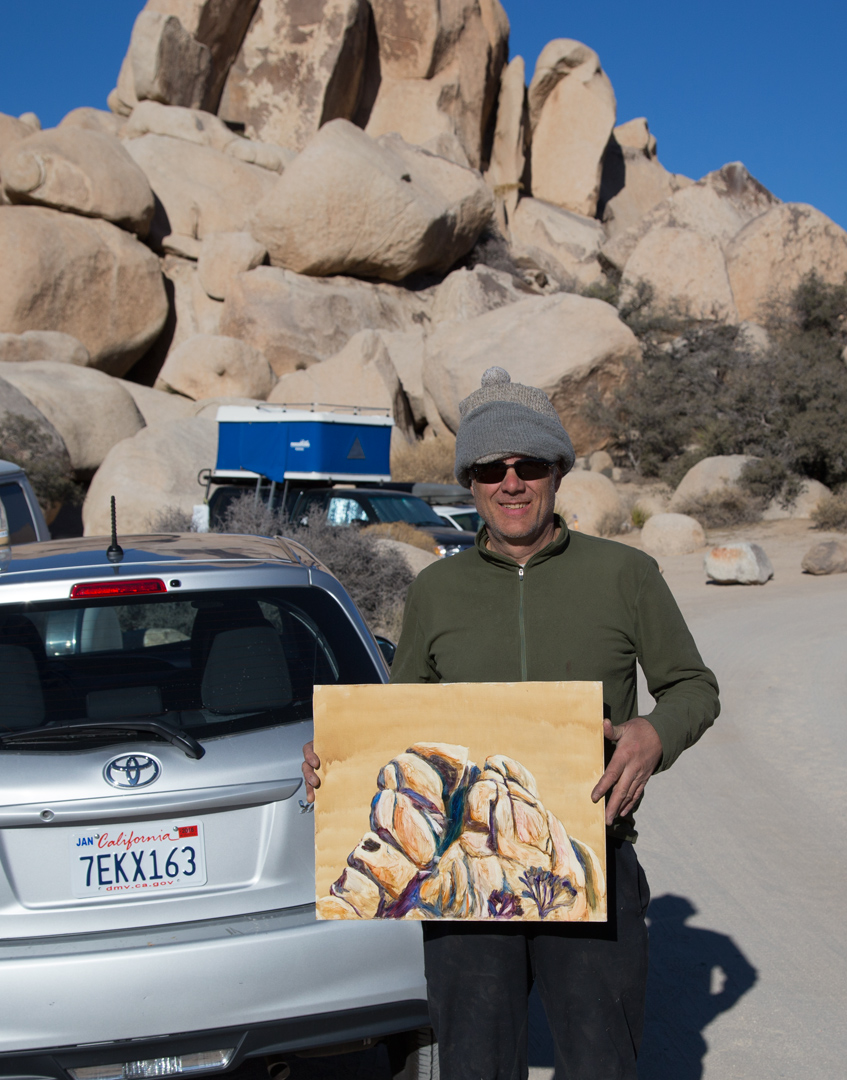 Me with my painting New Years day 2016, Joshua Tree