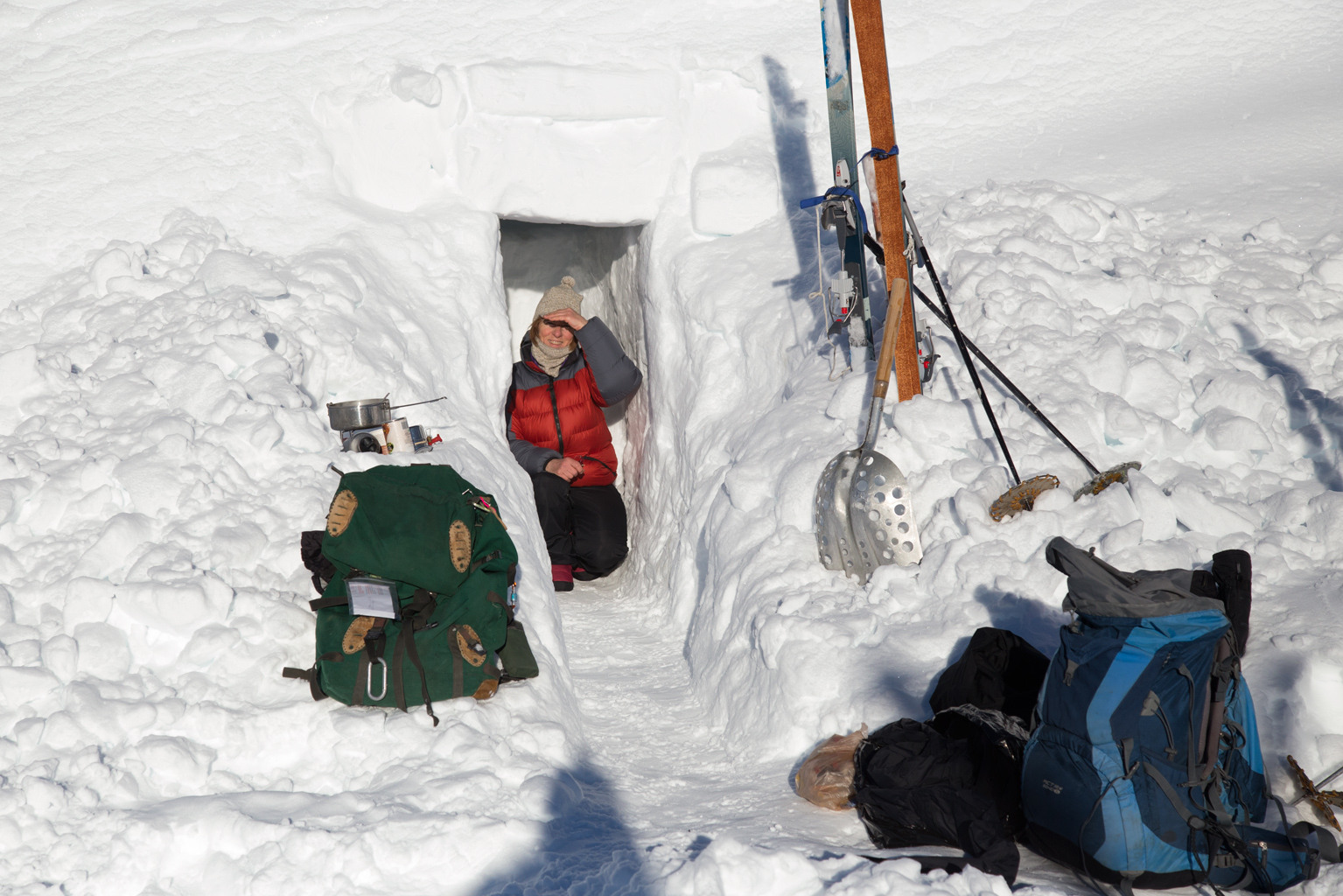 Sue at our snow cave