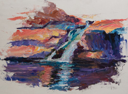 North fork Mill Creek canyon waterfall, Moab, Utah, 12x18 oil on board