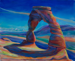 Delicate Arch, 2018. This is my fourth painting of the Arch. 16 x 20 oil on board
