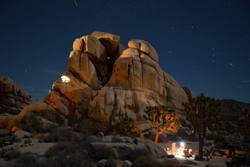 Time exposure at Hidden Valley campground in Joshua Tree National Park. Climbers in the space station