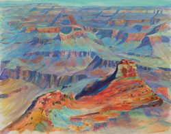 Sue and I did a bucket list trip to the Grand Canyon in June. We hiked down the South Kaibab trail to Ooh-ahh Point where I painted this plein air...or at least got it started. I also tinkered with it when I got home. Unless you live down there, it would be hard to finish a painting of something this big, and this far from the car, from life. 16 x 20 oil on board