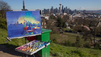 Me painting at Kerry Park in Seattle