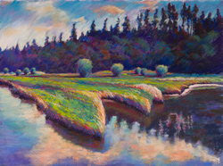 Nisqually Duck Blind. They flooded this dike after I painted it. This dike is underwater now. 22x30 pastel. This painting is framed.