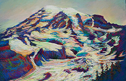 We live a few hours from Mt. Rainier. I hike up the Skyline trail and paint it every summer. 15 x 20 pastel. SOLD