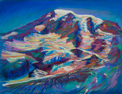 We live a few hours from Mt. Rainier. I hike up the Skyline trail and paint it every summer...often twice. 15 x 20 pastel