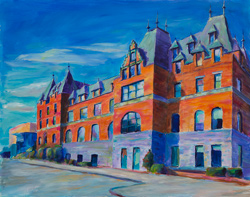 Stadium High School from the south.  This was 5 visits of 3 hours each to capture the morning light. 16 x 20 oil on board.