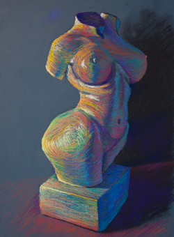 This painting of a one foot tall white statue won an honorable mention at the Puyallup fair. 15 x 20 pastel