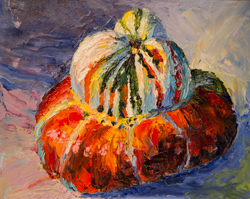 I've had a love affair with these colorful squashes for decades. This was the first time I'd tried them with oils                             and my first oil painting in 43 years.
