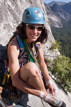Lisa on Serenity Crack in Yosemite. This was before the 10D crux, which I flailed on