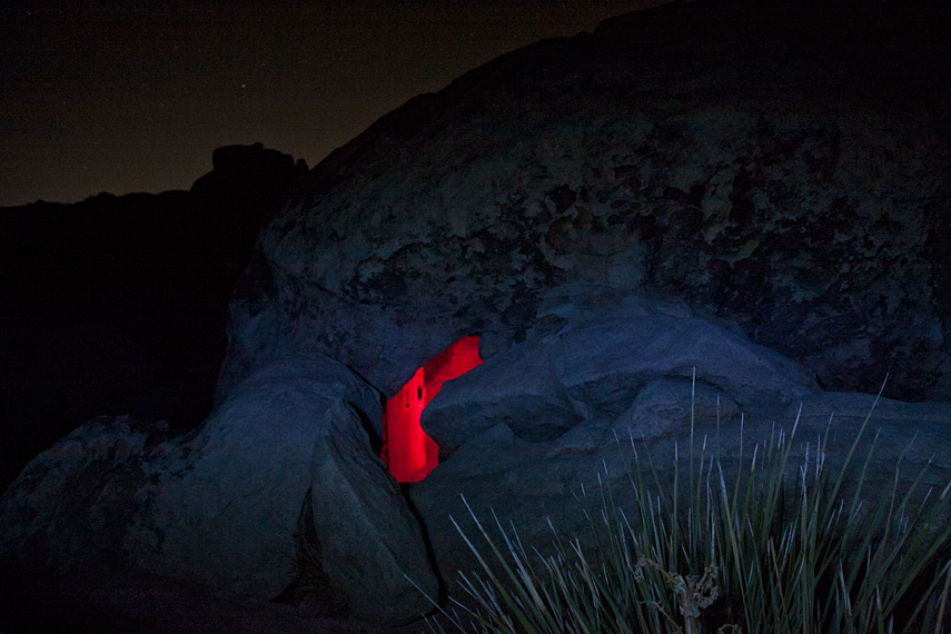 Iron Door cave by moonlight, Joshua Tree