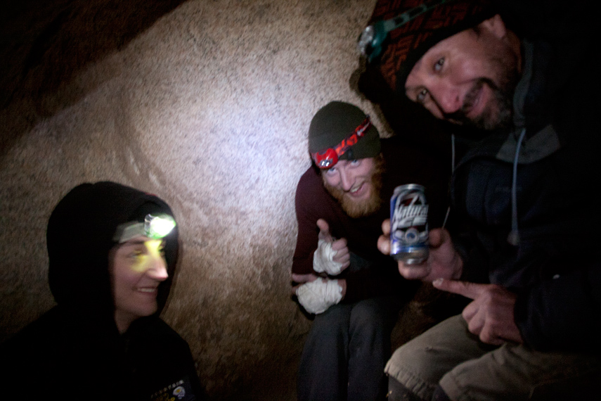 Ammon, Craig and Michael in the Hobbit Hole, Joshua Tree
