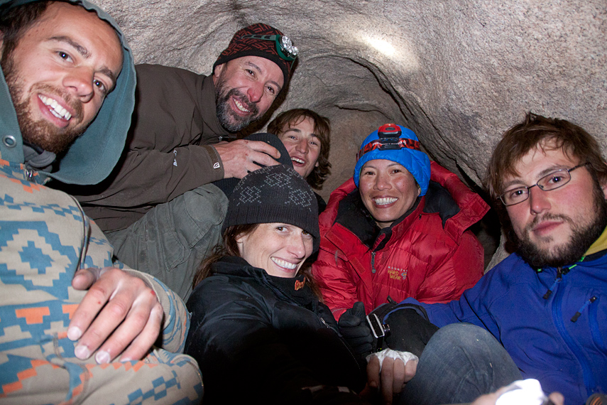 Friends in the Hobbit Hole cave, Joshua Tree