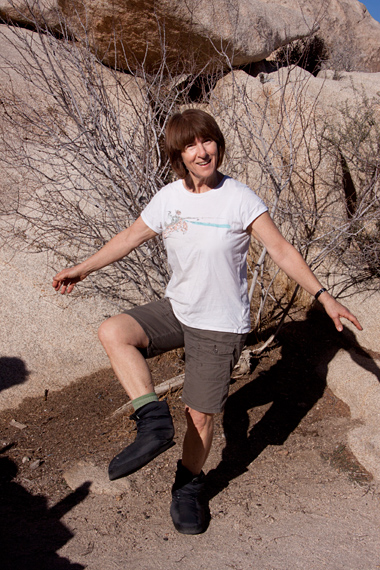 Sue showing off her down booties at site 27, jtree