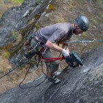 Craig drilling on Fletches new route