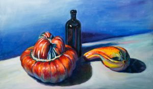 Two squashes and bottle