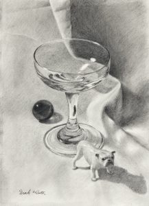Pencil drawing of wine glass and bull dog