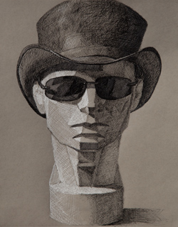 Planes of the head plaster cast with hat, 11 x 14 black and white ink on gray toned Strathmore paper