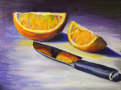 I bought a new knife for this painting of orange slices. 9 x 12 oil on board