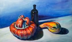 I scored big at Safeway in 2014. Both of these squashes were super fun to paint. 11 x 18 oil on board