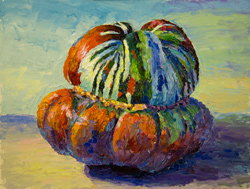 Turban squash with palette knife, 2017, 9 x 12 oil on board