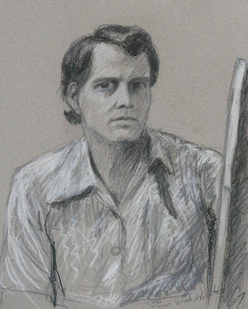 Self Portrait 1989 charcoal and white conte crayon